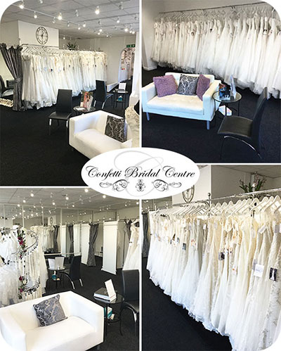 confetti bridal centre shop interior